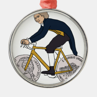 Thomas Jefferson Riding Bike W/ Nickel Wheels Metal Ornament