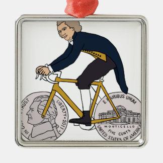 Thomas Jefferson Riding Bike W/ Nickel Wheels Metal Ornament