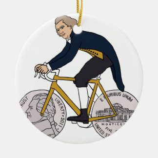 Thomas Jefferson Riding Bike W/ Nickel Wheels Round Ceramic Ornament