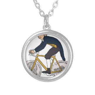 Thomas Jefferson Riding Bike W/ Nickel Wheels Silver Plated Necklace