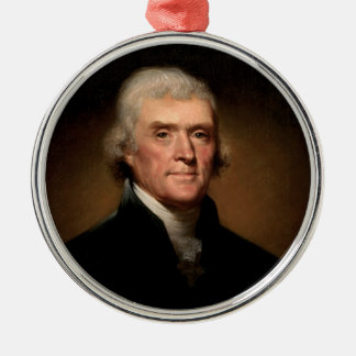 Thomas Jefferson Silver-Colored Round Ornament