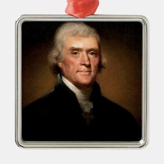 Thomas Jefferson Silver-Colored Square Ornament