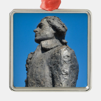 Thomas Jefferson Silver-Colored Square Ornament