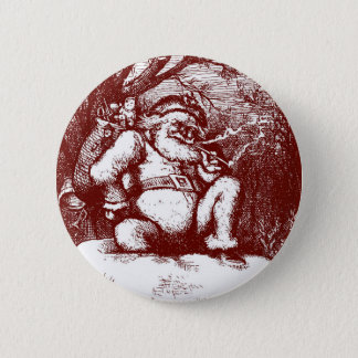 Thomas Nast Santa Claus on Rooftop 2 Inch Round Button