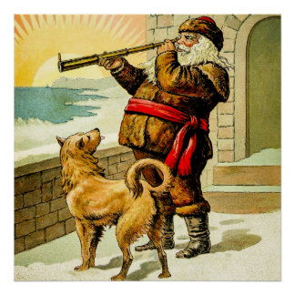 Thomas Nast Vintage Santa 1888 Antique Bookplate Poster