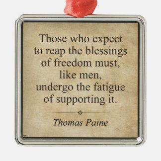 Thomas Paine Silver-Colored Square Ornament