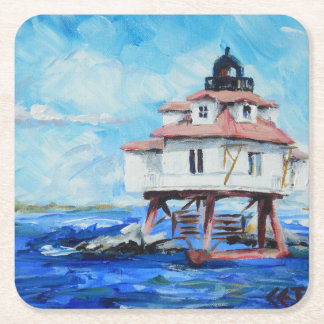 Thomas Point Lighthouse Square Paper Coaster