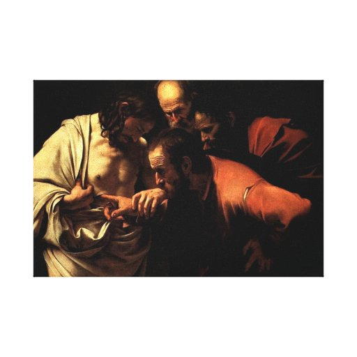 Thomas put his finger in Jesus' pierced side Stretched Canvas Print