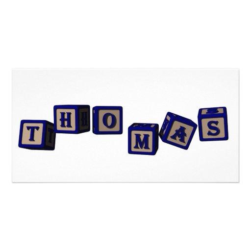 Thomas toy blocks in blue. custom photo card