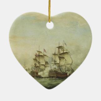 Thomas Whitcombe - The Battle of the Saints Ceramic Heart Ornament