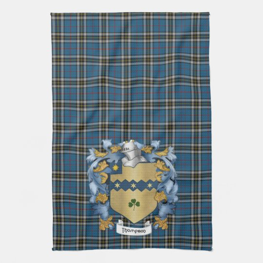 Thompson Family Crest and Tartan (Irish) Kitchen Towel