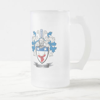 Thompson Family Crest Coat of Arms Frosted Glass Beer Mug