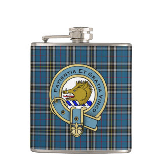 Thomson Dress Tartan Plaid and Clan Badge Hip Flask