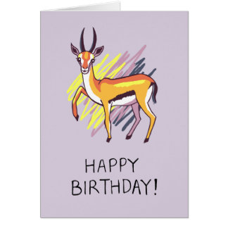 Thomson's Gazelle Drawing Fun Happy Birthday Card
