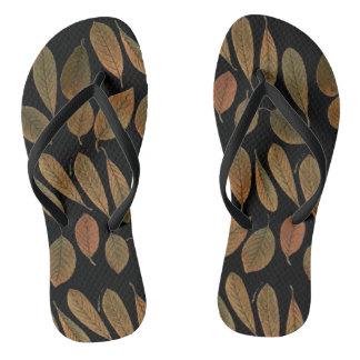 Thongs black bottom and printing of brown leaves