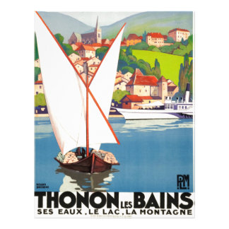 Thonon Les Bains French Travel Europe Personalized Letterhead