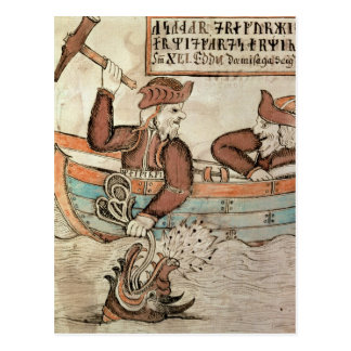 Thor fishing for the serpent of Midgard Postcard