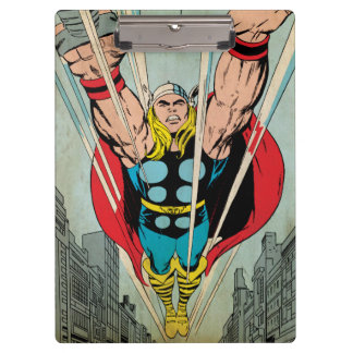 Thor Flying Through City Comic Panel Clipboard