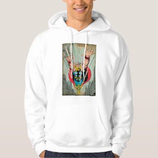 Thor Flying Through City Comic Panel Hoodie
