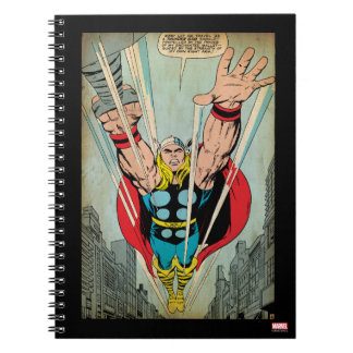 Thor Flying Through City Comic Panel Spiral Note Book