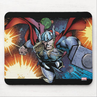 Thor Flying Through Space Comic Panel Mouse Pad