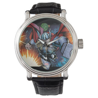 Thor Flying Through Space Comic Panel Wristwatch