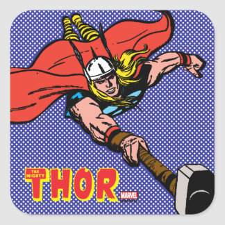 Thor Flying With Mjolnir Square Sticker