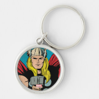"Thor ""God of Thunder"" Comic Panel Silver-Colored Round Keychain"