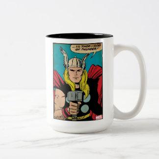 """Thor """"God of Thunder"""" Comic Panel Two-Tone Coffee Mug"""