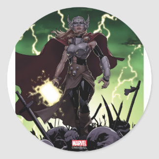 Thor Over Slain Enemies Classic Round Sticker