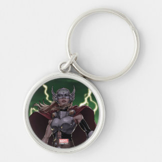 Thor Over Slain Enemies Silver-Colored Round Keychain