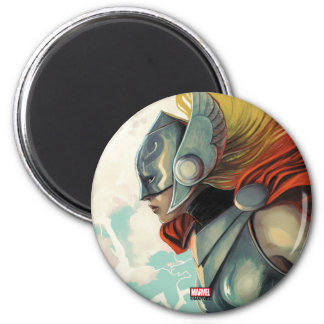 Thor Profile With Mjolnir 2 Inch Round Magnet
