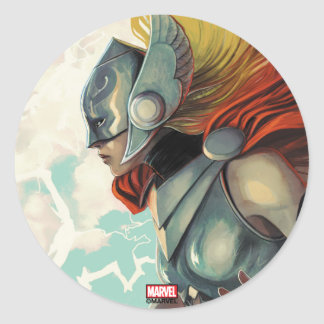 Thor Profile With Mjolnir Classic Round Sticker