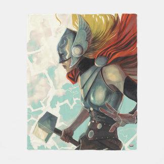 Thor Profile With Mjolnir Fleece Blanket