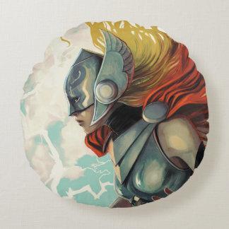 Thor Profile With Mjolnir Round Pillow