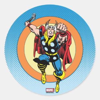 Thor Punch Attack Retro Graphic Classic Round Sticker