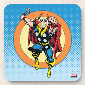 Thor Punch Attack Retro Graphic Coaster