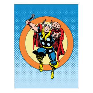 Thor Punch Attack Retro Graphic Postcard