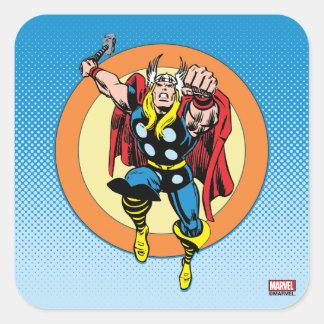 Thor Punch Attack Retro Graphic Square Sticker
