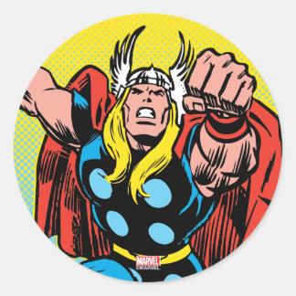 Thor Punching Attack Classic Round Sticker