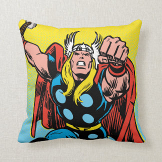 Thor Punching Attack Throw Pillow
