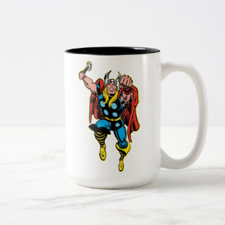 Thor Punching Attack Two-Tone Coffee Mug