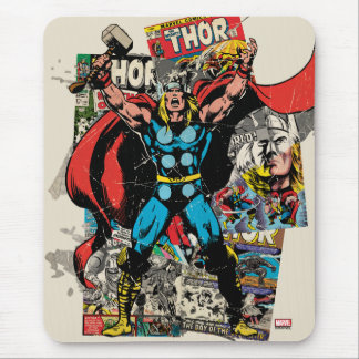 Thor Retro Comic Collage Mouse Pad