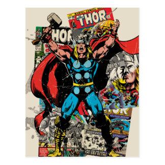 Thor Retro Comic Collage Postcard