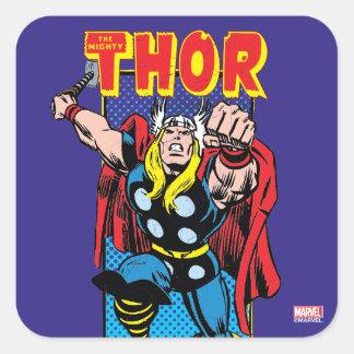 Thor Retro Comic Graphic Square Sticker