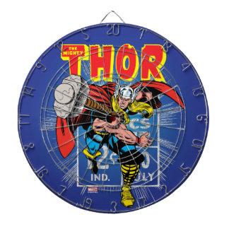 Thor Retro Comic Price Graphic Dartboard With Darts