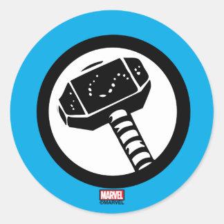 Thor Retro Hammer Icon Classic Round Sticker