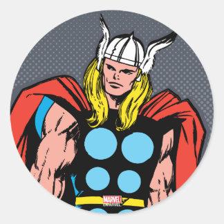 Thor Standing Tall Retro Comic Art Classic Round Sticker