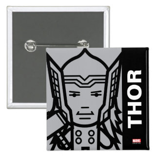 Thor Stylized Line Art 2 Inch Square Button