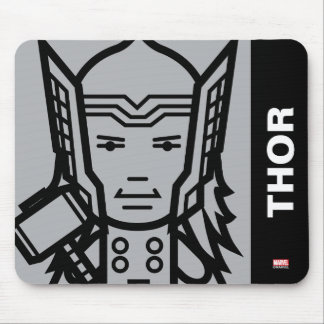 Thor Stylized Line Art Mouse Pad